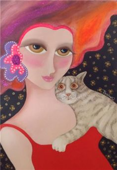 Rezzan Ganiz Crazy Cat Lady, Crazy Cats, Local Painters, Kunst Online, Cat Character, All About Cats, Art Themes, Cat Drawing, Fauna