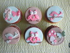 Pink, Purple and Blue Woodland Owl & Friends Fondant Cupcake Toppers