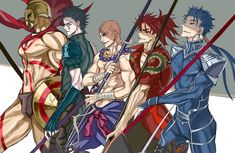 The Lancer squad From right: Cu'chulainn, li shuwen, ?, diarmuid, leonidas