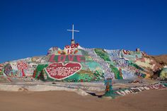 Salvation Mountain is an amazing California desert destination that is a testament to one man's determination, creativity, and love. Leonard Knight is the artist who built this mountain of love.    Photo by Stephanie Roberts, http://ObsessiveHobbyist.com