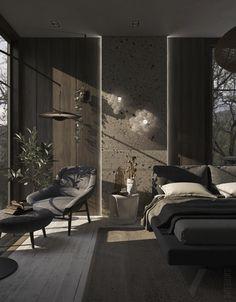 Black Bedroom Design, Black Interior Design, Home Room Design, Dream Home Design, Dream House Interior, Luxury Homes Dream Houses, Tranquil Bedroom, Dark Interiors, Aesthetic Bedroom