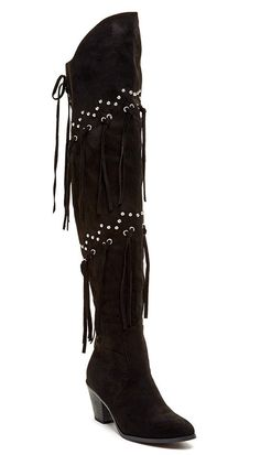 Bucco Mykel Womens Fashion Thigh High Fringe Boots * To view further for this item, visit the image link.