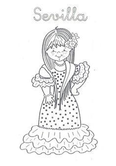 Mi Mundo Infantil: TRAJES TÍPICOS ANDALUCES Spanish Girls, Teaching Spanish, Indiana, Embroidery, Crafts, Baby Dolls, Girls, Dads, Flamenco Dresses