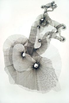 Pencil on paper 110X84cm - A continuous ribbon of straight lines drawn using a ruler