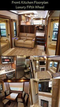 Front Kitchen fifth wheel with all the best bells and whistles! It'll knock your socks off! Fifth Wheel Campers, Fifth Wheel Trailers, Rv Floor Plans, Kitchen Floor Plans, Luxury Rv Living, Tiny Living, Rv Homes, Motor Homes, Best Family Tent