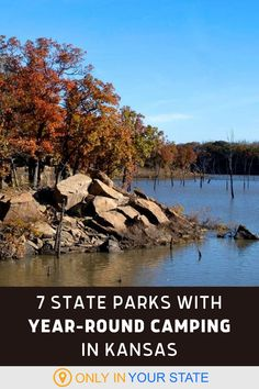 Summer isn't the only time to go camping, fall and spring are also terrific. Luckily, you can camp all year long at these stunning state parks in Kansas. Enjoy hiking, foliage, boating, swimming, lakes, tents, cabins, and more, depending on the adventure you choose. | Local Travel | Things To Do With Family And Friends | Outdoors | Staycation | Affordable Vacation On A Budget Affordable Vacations, Hidden Beach, Travel Things, Short Trip, Go Camping, Staycation, Natural Wonders, Tents, Boating