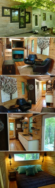 67 Beautiful and Awesome Tiny House Design Ideas - Architecturehd Tiny House Cabin, Tiny House Living, Tiny House Design, Tiny Houses, Little Houses On Wheels, Micro House, Tiny House Movement, Tiny Spaces, Prefab Homes