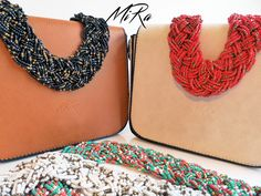 Adelaide Bags (brown and white) with Maxi Beads necklaces (black, red, white and multi color)  www.mirasstore.com