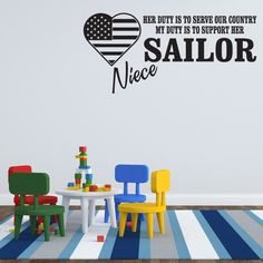 Her Duty Is To Serve Our Country My Duty Is To Support Her Sailor Niece Navy Wall Decal - Vinyl Decal - Car Decal - CF102