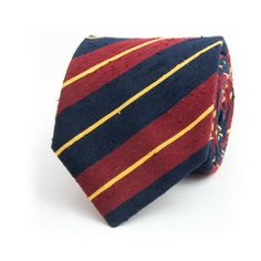 Raw slub silk club stripe seven fold tie by edward sexton.