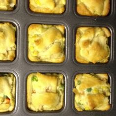Individual chicken pot pies in the Pampered Chef brownie pan. www.jsimspc.com
