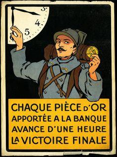 « Ohé ! les braves gens… Versez votre or nous versons bien notre sang… », s.d.  Les Français sont vivement incités à verser leur or contre des billets pour reconstituer les réserves de la Banque de France : c'est l'acte patriotique par excellence.