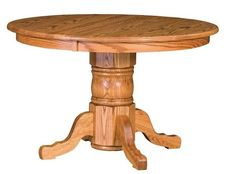 Amish San Antonio Single Pedestal Table You can trust the durability and enjoy the beauty for generations. The San Antonio loves kitchen nooks, dining areas and feasts large and small. Custom built in choice of wood and stain. American made wood furniture for home. #pedestaltable #woodtable #diningtable #roundtables