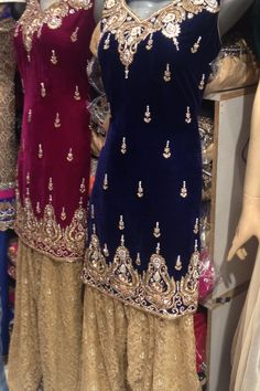 Love the mixture of fabrics - velvet kameez with a lace overlay salwar