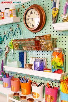 Craft Room Pegboard Accessory Ideas   #craftroom #diy #organization