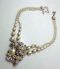 Miriam Haskell vintage pearl necklace 1930's
