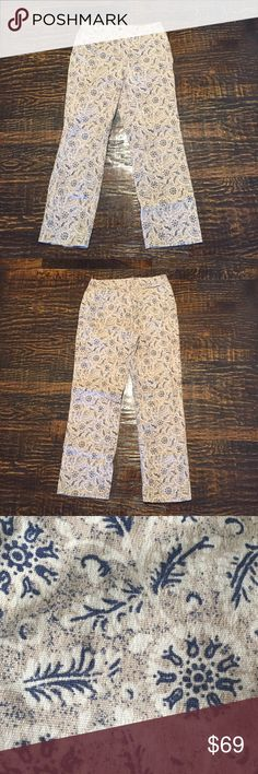 """VINTAGE Charter Club Patterned Jeans 'Laura' Fit. Full length. Nice for winter because they have just enough detail to keep from being dreary but it is not too much to be overwhelming. Wear with a cozy sweater and some cute brown boots and you are all set. Great condition. No stains, holes, or fraying. Vintage size 8 - please make sure approximate measurements below work for you.  Approximate Measurements (measure flat and unstretched):  Waist - 15"""" Hips- 19"""" Rise- 10.5"""" Inseam- 28.5""""…"""