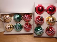 Vintage glass Christmas Ornaments Pyramid Rauch and Poland Mica Glitter
