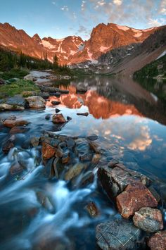 Glorious Indian Peaks Alpenglow; photograph by Mike Berenson. Lake Isabelle in the Indian Peaks Wilderness Area, Colorado