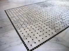 Bianco White Carrara Marble with Black Dot Basketweave Honed Mosaic Tile - Marble Bathroom Floor Marble Bathroom Floor, White Bathroom Tiles, Marble Floor, Carrara Marble, Bathroom Flooring, Tile Floor, Marble Bathrooms, Bathroom Countertops, Terrazzo Flooring