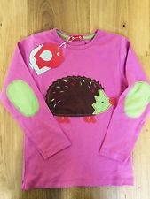 Piccalilly Pink Hedgehog Appliqué Top 5-6 BNWT Organic Cotton