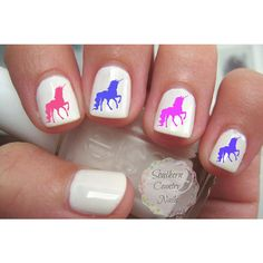 Unicorn Nail Art Decals ($1.99) ❤ liked on Polyvore featuring beauty products, nail care and nail treatments