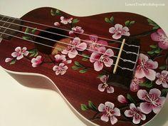 Hand Painted Cherry Blossoms on YOUR Ukulele - LemonTreeWorkshop.com for Etsy