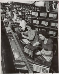 """""""Postwar radios ready: First radios off the assembly line since war's end will be ready for the public after the holidays. Picture shows general view of assembly line at Emerson Radio & Phonograph Corp. New York"""""""