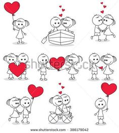Valentines Day Gift Ideas PinWire: collection set of cute couple doodle with hearts Doodle Art, Doodle Drawings, Cartoon Drawings, Easy Drawings, Heart Doodle, Illustration Vector, Couple Cartoon, Stick Figures, Rock Crafts