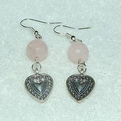 Rose Quartz and Heart Earrings - Gayle Dawn Boutique