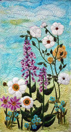 Quilts art quilt silk painted original  flower garden wall hanging --  love the quilting effect!