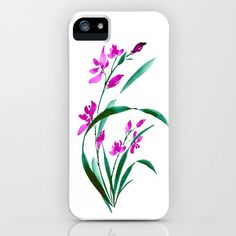 Floral iPhone Grass Orchid Case - Feng Shui - Brazen Art Cell Phone Cover  - iPhone 5 4 4s 3g Case. $40.00, via Etsy.