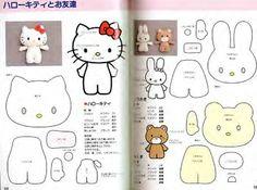 Moldes Para Artesanato em Tecido: Hello Kitty com molde feltro