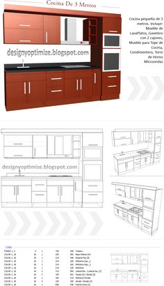Diseños De Muebles: Armarios, Cocinas, Bibliotecas, Etc.: Como Diseñar y Construir Una Cocina - Muebles De Cocina 3 Metros Modern Kitchen Cabinets, Kitchen Interior, Kitchen Decor, Furniture Plans, Furniture Design, Cuisines Design, Entryway Decor, Layout Design, Kitchen Remodel