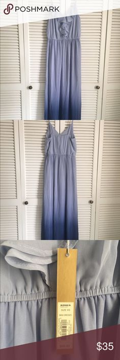 Lauren Conrad Ombré Ruffle Maxi Dress This is a NWT Lauren Conrad for Kohls ruffle maxi dress.  I purchased from another posher last year with the plan of wearing it for my baby shower.  Sadly, it didn't fit correctly with the bump.  Since then it has lived in my closet and hasn't gotten any love.  It is a beautiful blue ombré color and would be the perfect maxi dress to take you through late summer  In perfect condition. LC Lauren Conrad Dresses Maxi