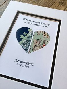 The perfect thoughtful gift or personal memento. This personalized map makes the perfect gift with custom map location, text & quote. Our artwork is created by inlaying your personalized map inside a shape cut from premium cardstock papers. These are so much more than just art prints!!! One Year Anniversary Gifts, Paper Anniversary, First Anniversary, Long Distance Relationship Gifts, Distance Relationships, Wedding Vow Art, Wedding Ideas, Heart Map, Map Art