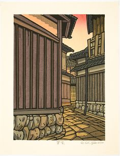 Katsuyuki NISHIJIMA (*1945): Sunset Lane Flag Icon, Woodblock Print, Beautiful Sunset, Paper Size, Kyoto, Art Forms, Printmaking, Serenity, Clouds