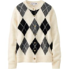 Ines Argyle Crew Neck Cardigan (54 MYR) ❤ liked on Polyvore featuring tops, cardigans, off white, multi color cardigan, j.crew cardigan, crew neck cardigan, uniqlo and uniqlo cardigan