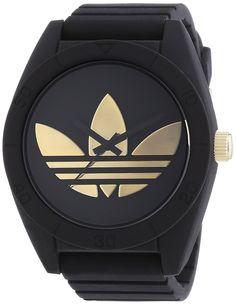 adidas  Santiago - Reloj de cuarzo para hombre, con correa de silicona, color negro