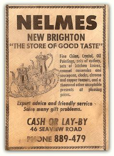 Nelmes, New Brighton, Christchurch, New Zealand. Ad from the Christchurch Star Newspaper 1975.