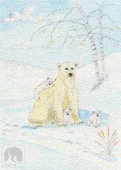 Mom and Baby Polar Bears Animal and Nature Artwork Nursery