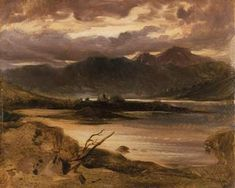 Lake and landscape with light reflecting in orange and browns