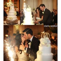 You can literally see sparks fly between these newlyweds as they cut the cake! :couplekiss::boom: :camera:: @clarkwalkerstudio #feelthechemistry #saratogaspringswedding wedding cake sparkler