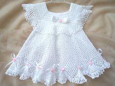 Crocheted Christening Dress. baby shower gift от SvitlanaSky