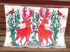 Cross stitch reindeers - Xmas.   Selection of vintage completed cross stitch & tapestry - for craft projects | eBay