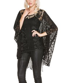 Look what I found on #zulily! Black Lace Cape-Sleeve Top #zulilyfinds