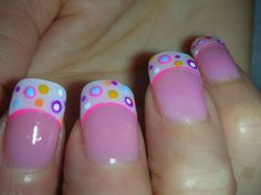 Nail art;  Super cute french tip manicure with dots nail art design @Jeannine Peters Kunstman...  something fun i can see you doing! i love it!