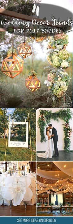 Top 4 Wedding Decor Trends for 2017 Brides ❤️ Can't wait to see wedding decor trends for 2017? Here are some ideas for your inspiration! See more: http://www.weddingforward.com/wedding-decor-trends/ #wedding #decor #trends
