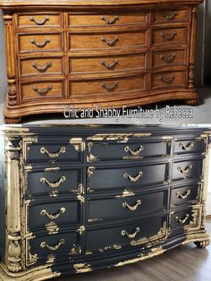Decorative Rocks Ideas : Black and Gold Before and after dresser makeover. - Furniture painted ideas Decorative Rocks Ideas : Black and Gold Before and after dresser makeover. Diy Furniture Renovation, Refurbished Furniture, Shabby Chic Furniture, Furniture Makeover, Vintage Furniture, Gold Leaf Furniture, Paint Furniture, Furniture Projects, Cool Furniture