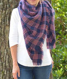 Pink & Blue Blanket Scarf